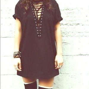 LF black lace up t-shirt dress