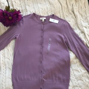 LOFT lavender cardigan sweater
