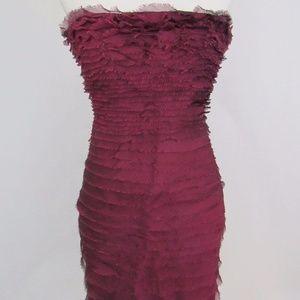 100% Silk Tiered Strapless Mini Dress