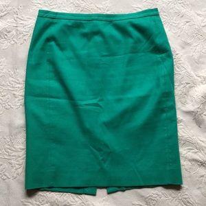 J Crew Kelly Green No. 2 pencil skirt cotton twill