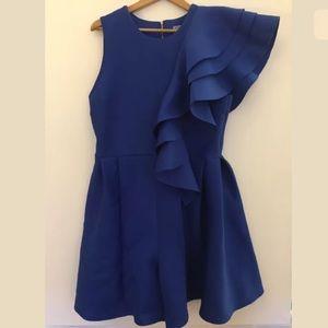 Eien blue scuba ruffle sleeveless One piece dress