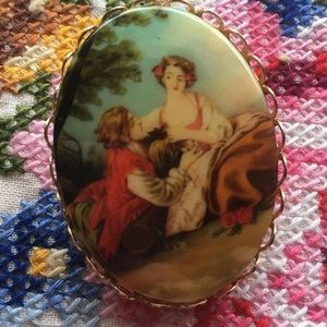 Jewelry - Oil Painting Brooch Pin with Scalloped border