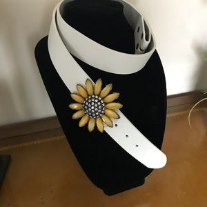 Leather Belt with Rhinestone Embellishment