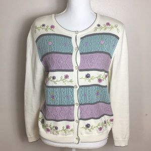 Alfred Dunner Embroidered texturized Sweater Ramie