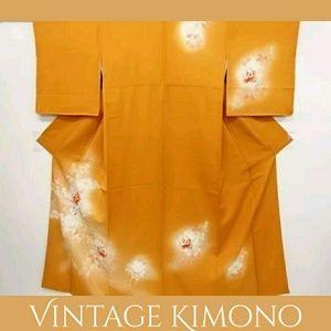 Vintage Orange & Cream Floral Silk Kimono WOW!
