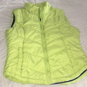Lime green puffer vest!