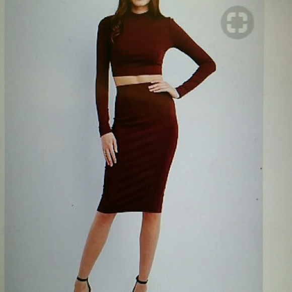 bf4751850a5 Charlotte Russe Dresses & Skirts - Charlotte Russe two piece set burgundy