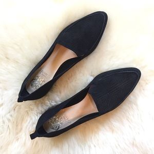 Vince Camuto Kandia Black Suede Perforated Flats
