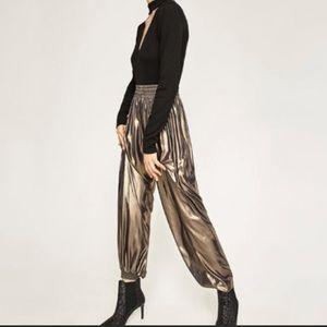 Zara Metallic Gold Jogger Pants