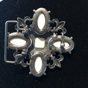 Vera Pella Accessories - Leather Belt with Rhinestone Embellishment