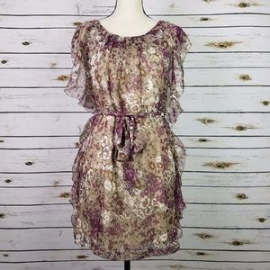 Floral Chiffon Ruffle Dress Beige Brown Purple Sm