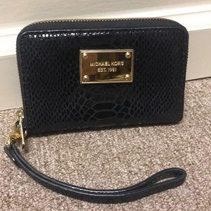 Michael Kors Black Snakeskin Leather Wallet