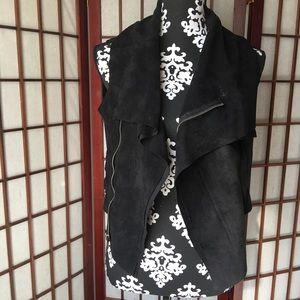 BCBG Maxazria black suede like material vest XS