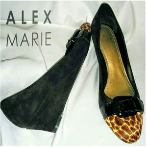 Alex Marie suede leopard toed brown wedges