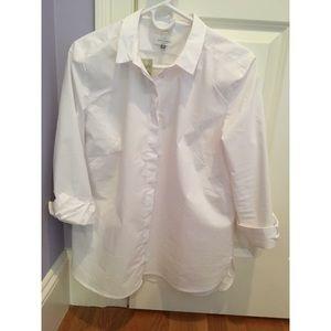LOFT Refined Softened Shirt (White), size LP