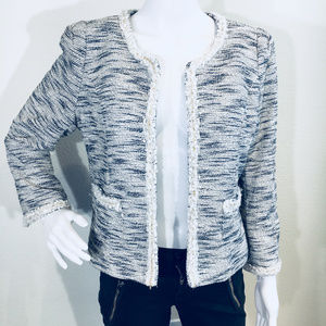 GIBSON Boucle Jacket Blue/white/gold - L