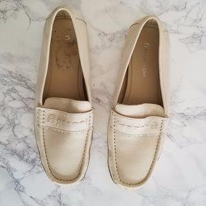 Etienne Aigner Women's Beige Leather Loafers Slip