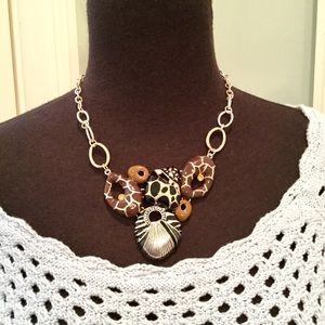 Jewelry - Abstract Statement Necklace, Silver & Neutrals EUC