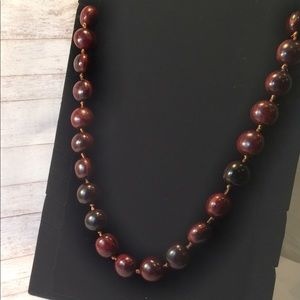 Jewelry - Chestnut beaded long necklace with ribbon tie