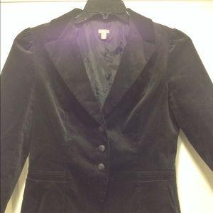 Halogen velvet blazer w/ 3/4 sleeves and great fit