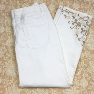 Coldwater Creek White Embroidered Jeans