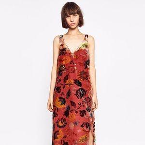 ZARA ~ velvet rose & gold vneck long dress size M