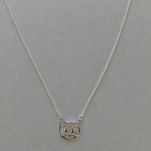 Jewelry - Origami Cat Face Necklace/Plated silver
