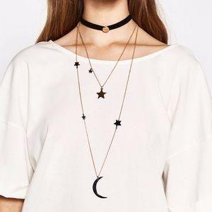 Boho Chic 3 Layered Moon & Star Choker Necklace