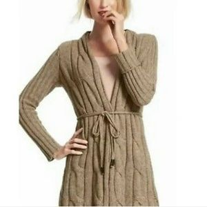 SALE CABI Thick Tan Cable Sweater Cardigan Size M