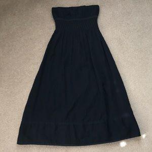 J.Crew Navy Linen Smocked Strapless Dress