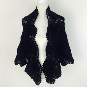 Vintage Glentex Wool Crochet Shawl Scarf Black