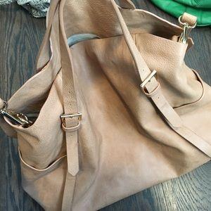 Tan oversized shoulder bag
