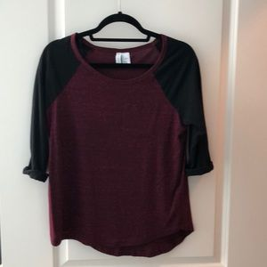 Burgundy and Black Baseball Tee