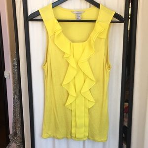 H&M yellow ruffled top size small