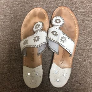 Jack Rogers white/silver sandals Size 6