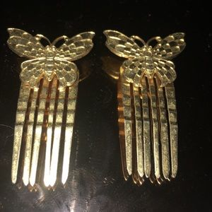 Accessories - Vintage butterfly hair combs