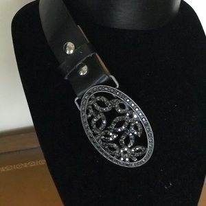 Genuine Leather Belt with Rhinestone Embellishment