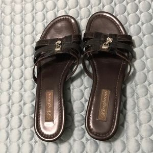 "Brighton brown & black leather slides ""lucky"" 9m"