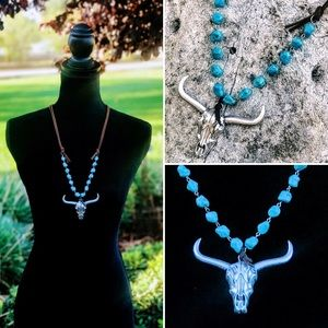 Jewelry - Western Bull Skull turquoise and leather necklace