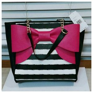 Betsey Johnson black striped bow tote
