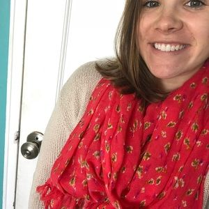 J. Crew red patterned scarf.