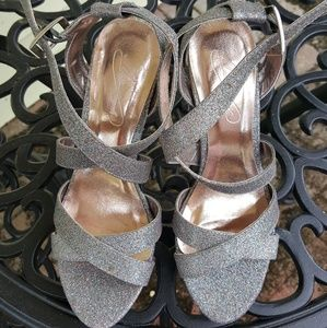Glitter silver gray high heels - holiday shoes