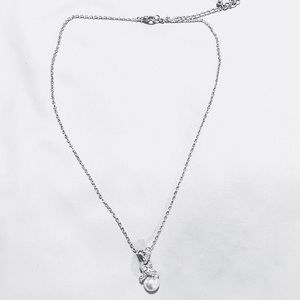 Pearl & Crystal Silver Pendant Necklace