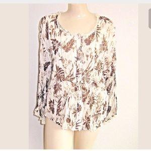 Coldwater Creek Women Blouse Sz PL Crinkle Lace