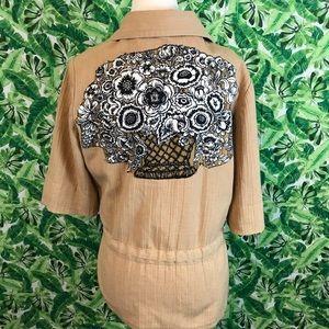 Women's vintage appliqué 70s jacket