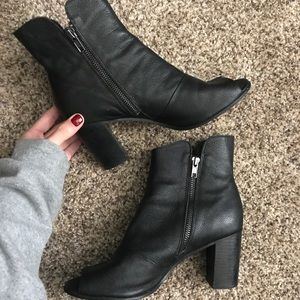 Peep Toe Black Booties