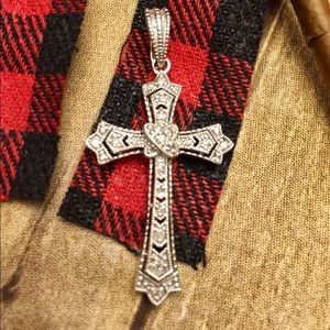 Sterling Silver and Diamond Cross