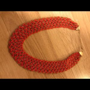Jewelry - Red/orange and gold statement necklace