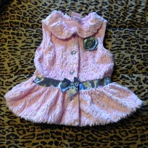 Satin Flowers Pink Fur Vest Girls 5T