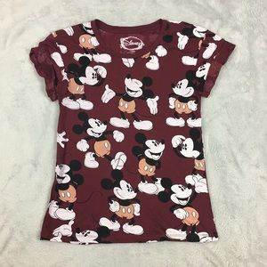 NWOT Disney Mickey Mouse Shirt Allover Roll Sleeve